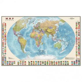 Карта настенная Мир. Политическая с флагами,  1:30 млн., 122*79см