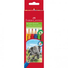 Карандаши цветные Faber-Castel, Jumbo, 6цв.яркие цвета, утолщенные