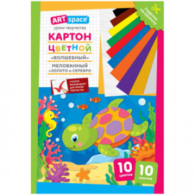 """Картон цветной А4 10л/10цв, """"Черепашка""""., мелов, в папке, Спейс"""
