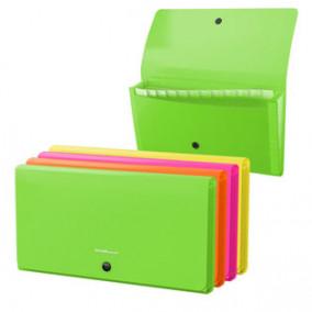 Папка-картотека Check size 12 отд, на кнопке, Neon, ассорти, ЕК