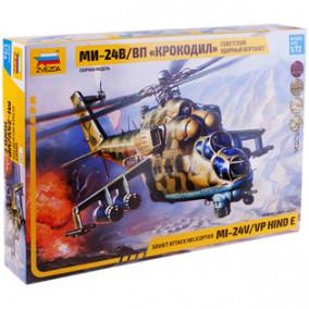 """Модель для склеивания """"Советский ударный вертолет МИ-24 Крокодил"""", масштаб 1:72, Звезда"""