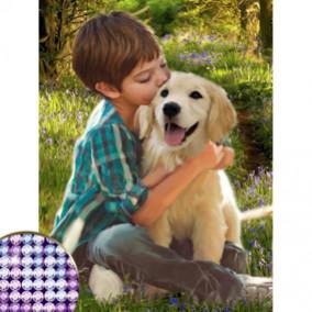 """Алмазная мозаика """"Мальчик с собакой"""", холст, 30х40см, частичное заполнение, Школа Талантов"""