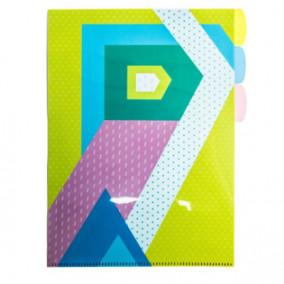 Папка-уголок А4 Разноцветная геометрия, 3 кармана, Феникс