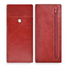 Пенал Шевро, 1 отд, 4 кармана, кожзам, красный, Феникс