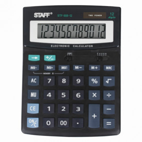Калькулятор STAFF PLUS STF-888-12 (200х150мм), 12 разрядов, двойное питание