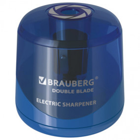 "Точилка электрическая ""DOUBLE BLADE"", двойное лезвие, питание от 2 батареек AA, Brauberg"