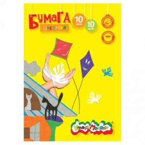 Бумага цветная А4 10л/10цв мелов, в папке, Каляка-Маляка