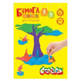 Бумага цветная двусторонняя А4 16л.8цв.2стор.в папке, Каляка-Маляка