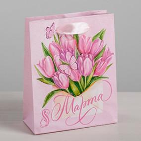"Пакет ламинат вертик. ""Тюльпаны 8 марта!"" 12х15х5,5см"