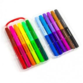 """Фломастеры двухсторонние 12шт/24цв. """"Water Color Pen"""", трехгр, смываемые, пласт. пенал, Yalong"""