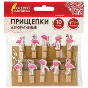 "Прищепки декор. ""Фламинго"", 10 штук, 3,5 см, ассорти, со шпагатом, ОСТРОВ СОКРОВИЩ"