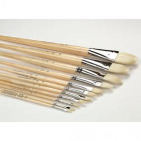 Кисть щетина овальная № 4 длинная ручка п/лаком, 10мм. Сонет