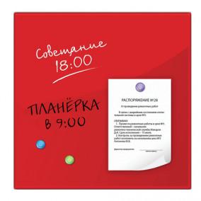 Доска магнитно-маркерная 45х45см, стеклянная, красная, Brauberg