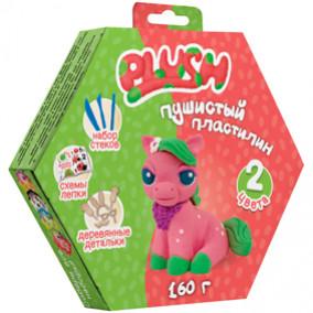 """Пушистый пластилин """"Plush"""" 2цв.*80г (розовый, зеленый), дерев. детали, стеки"""