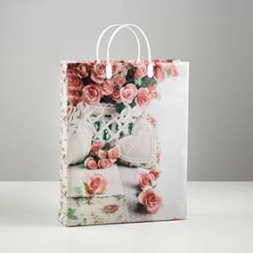 """Пакет пластиковый """"Кремовые розы"""", 30 х 9 х 40 см"""