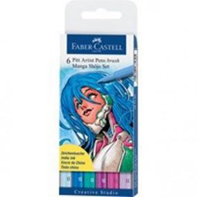 """Набор капиллярных ручек Faber-Castell """"Pitt Artist Pen Manga"""" ассорти, 6шт., 0,3мм/Brus"""