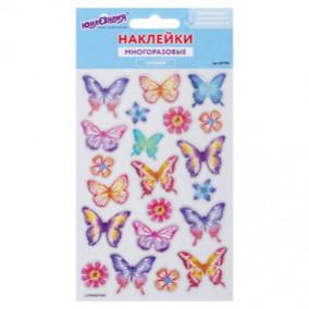 """Наклейки гелевые """"Пастельные бабочки"""", многоразовые, Юнландия"""