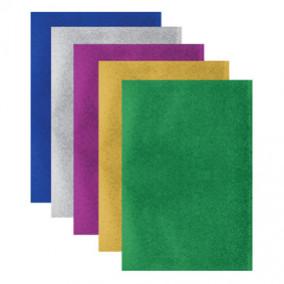 Цветная пористая резина, А4, 5л/5цв, 2мм, Металлик, Brauberg