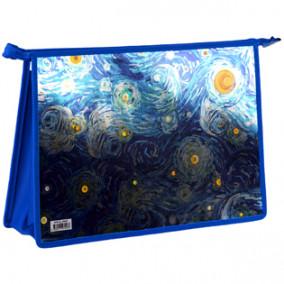 "Папка д/тетрадей А4 2 отд. ""Van Gogh"", пластик, на молнии, ArtSpace"