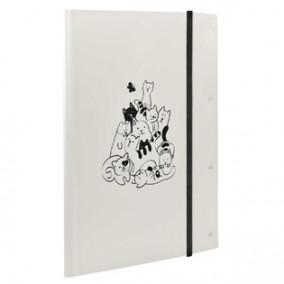 Папка для художественных работ А4/А3 Коты, на резинке, пластик, Феникс