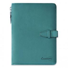 Ежедневник А6+ н/дат НАППА зеленовато-голубой металлик, 160л, отделение портмоне, Эскалада