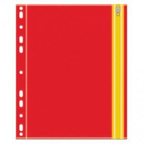 Папка на молнии Zip А4 , Оранжевый, с перфорацией, Феникс