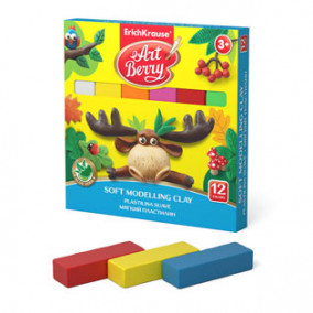 Мягкий пластилин ArtBerry® с Алоэ Вера 12цв. + стек, 240г, коробка