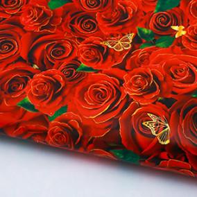"""Бумага упаков. глянц. """"Розы для тебя"""" 70х100"""