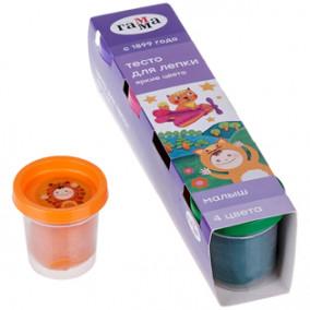 Тесто для лепки Малыш, 4цв., 240г, яркие цвета, Гамма